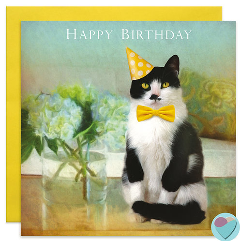 Tuxedo Cat Lovers Birthday Card UK 'HAPPY BIRTHDAY' '