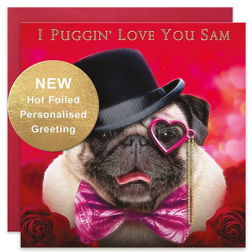 PERSONALISED Pug Valentine's Day Card by Juniperlove Greetings