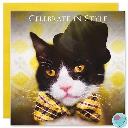 Tuxedo Cat Birthday Card 'CELEBRATE IN STYLE'