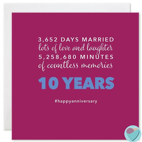 Wedding Anniversary Card 10 Years 3,652 DAYS MARRIED