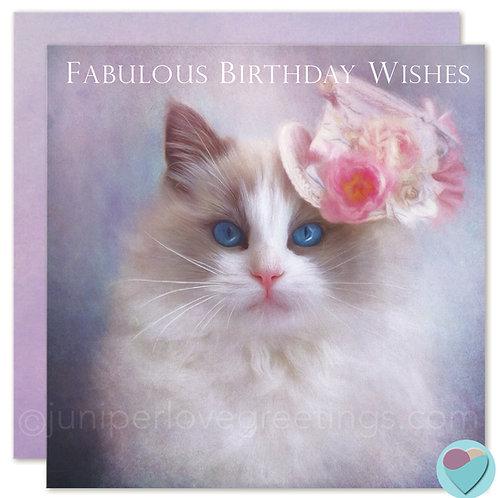 Ragdoll Cat Card Birthday UK 'FABULOUS BIRTHDAY WISHES'