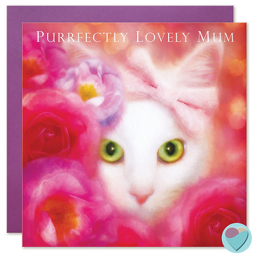 White Cat MUM Greeting Card - PURRFECTLY LOVELY MUM
