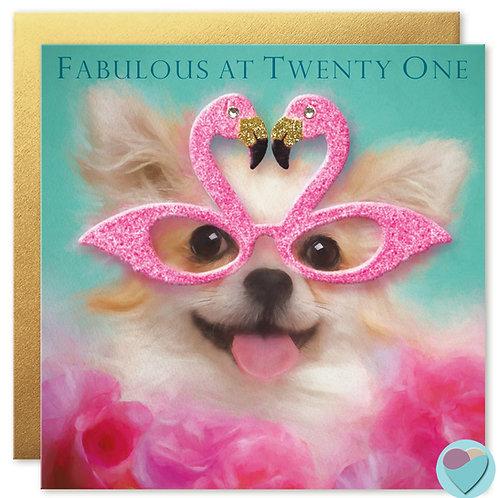21st Birthday Card 'FABULOUS AT TWENTY ONE'