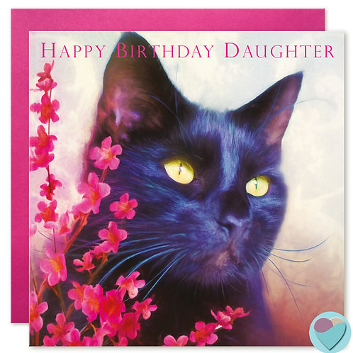 Daughter Black Cat Birthday Card 'HAPPY BIRTHDAY DAUGHTER'