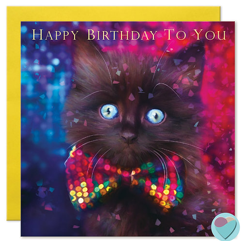 Black Cat Birthday Card 'HAPPY BIRTHDAY TO YOU'