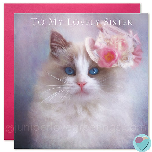 Ragdoll Cat Sister Birthday Card 'TO MY LOVELY SISTER'