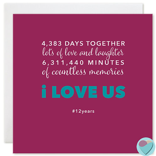 Anniversary Card 12 Years 4,383 DAYS TOGETHER