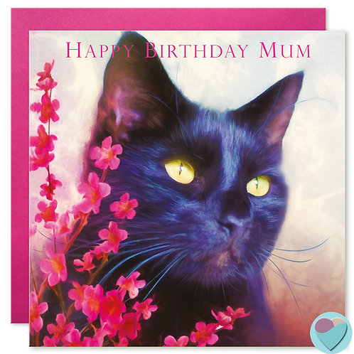 Mum Black Cat Birthday Card 'HAPPY BIRTHDAY MUM'