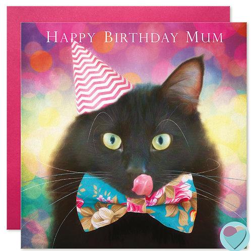 Black Cat Birthday Card Mum 'HAPPY BIRTHDAY MUM'