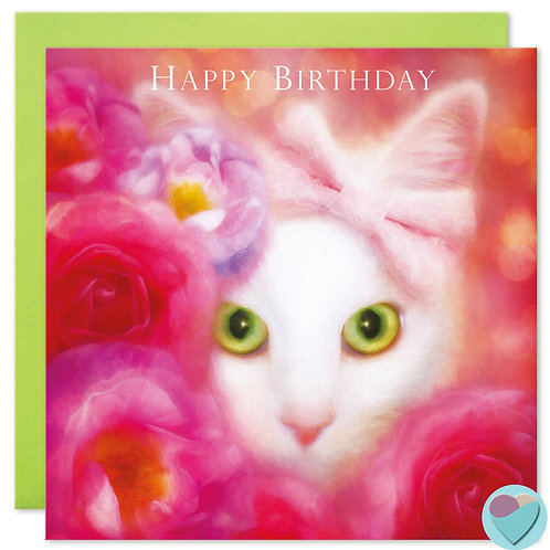 White Cat Birthday Card - 'HAPPY BIRTHDAY'