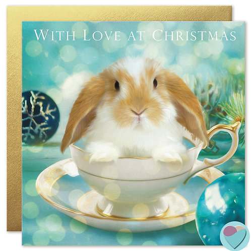 Dwarf Lop Bunny Christmas Card 'WITH LOVE AT CHRISTMAS'