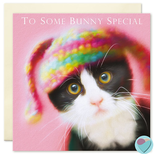 Tuxedo Kitten Greeting Card 'TO SOME BUNNY SPECIAL'