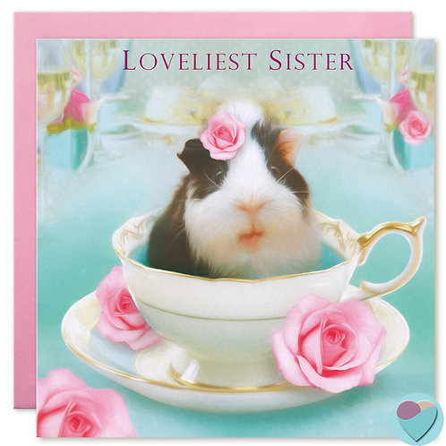 Sister Birthday Card Guinea Pig in Tea Cup 'LOVELIEST SISTER'