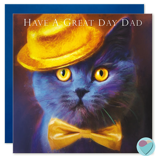 British Blue Cat Card 'HAVE A GREAT DAY DAD'