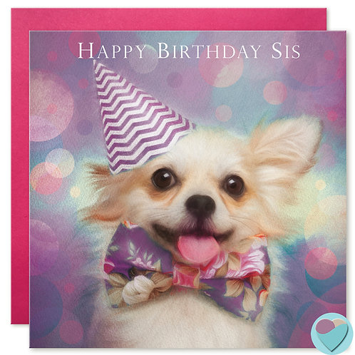 Chihuahua Sister Birthday Card 'HAPPY BIRTHDAY SIS'