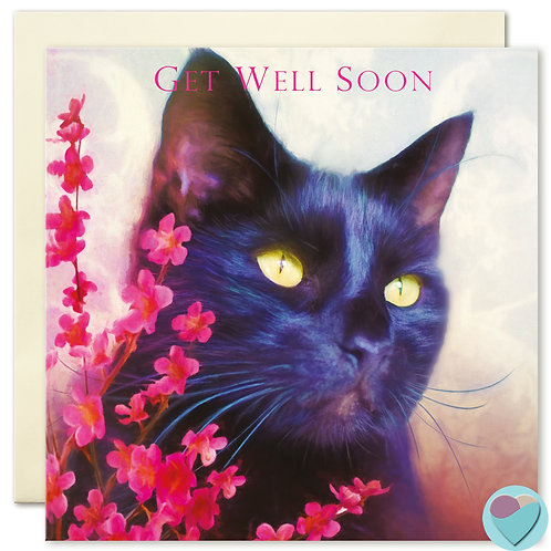 Black Cat Card 'GET WELL SOON'