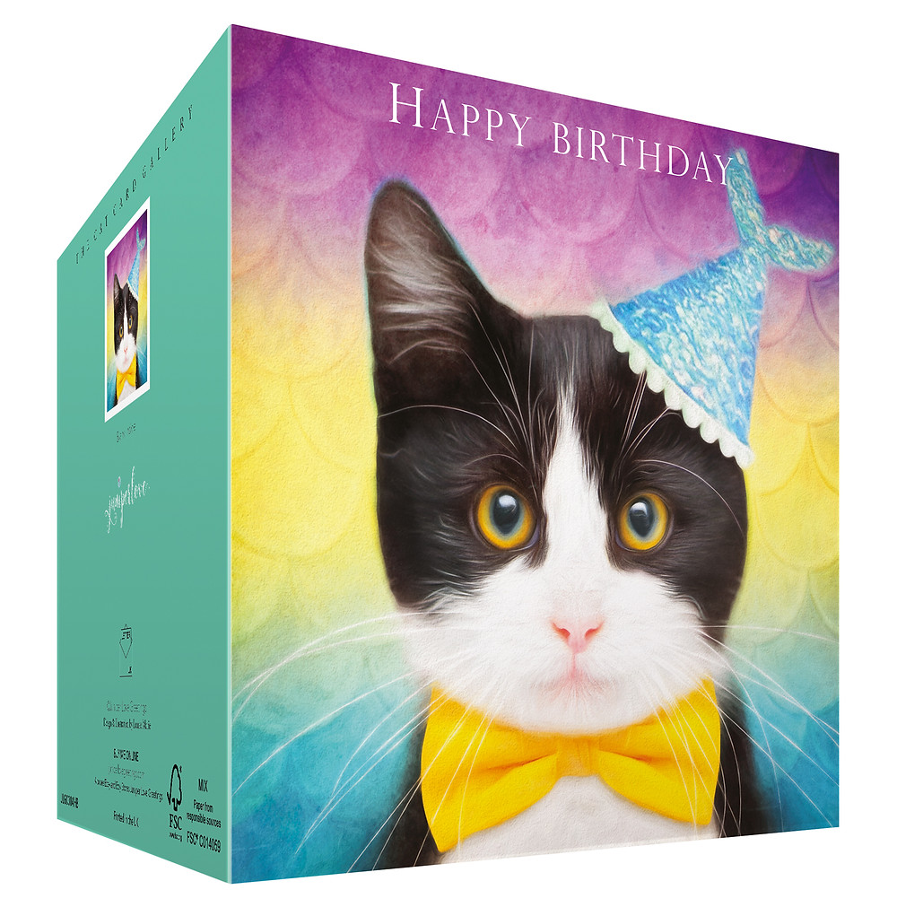 Tuxedo kitten wearing fish party hat and yellow bow tie birthday card
