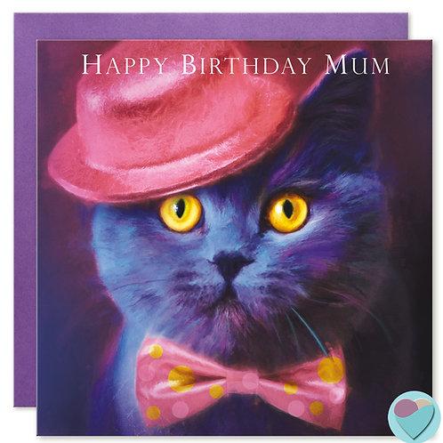 British Blue Cat Card 'HAPPY BIRTHDAY MUM'