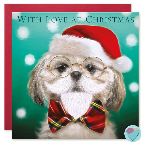 Shih-Tzu Christmas Card 'WITH LOVE AT CHRISTMAS'