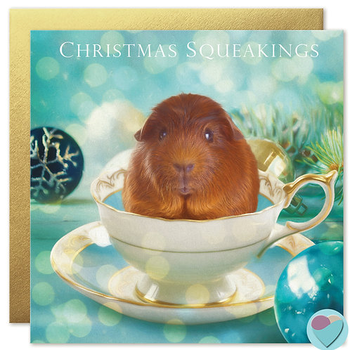 Guinea Pig Christmas Card 'CHRISTMAS SQUEAKINGS'