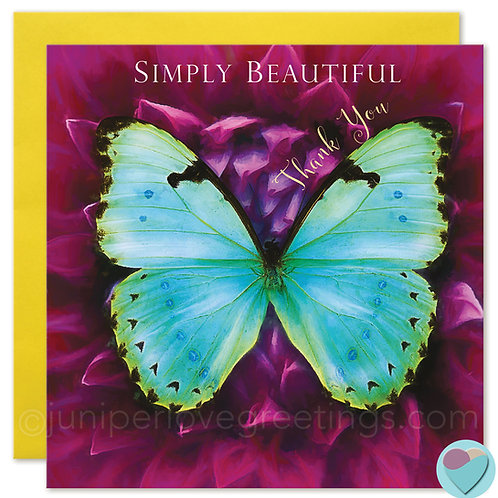 Thank You Card Butterfly Print 'SIMPLY BEAUTIFUL Thank You'