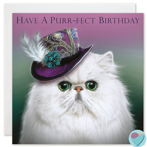 Persian Cat Birthday Card 'HAVE A PURR-FECT BIRTHDAY'