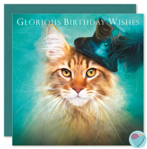 Maine Coon Cat Birthday Card GLORIOUS BIRTHDAY WISHES