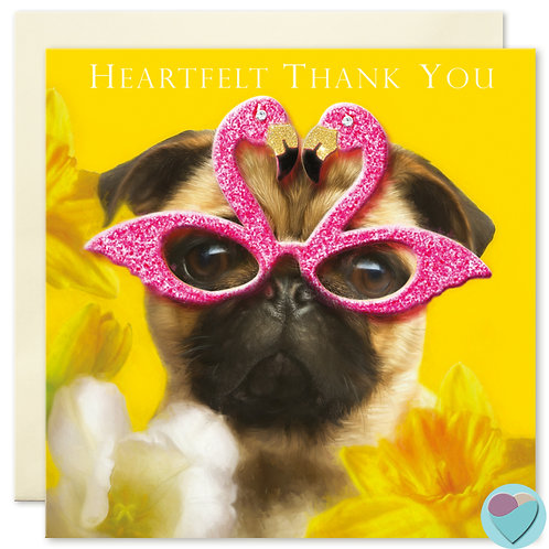 Thank You Card with Fawn Pug 'HEARTFELT THANK YOU'