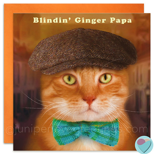 Ginger Cat Dad Birthday or Father's Day Card 'BLINDIN' GINGER PAPA'