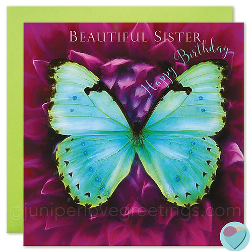 Sister Birthday Card Butterfly 'BEAUTIFUL SISTER Happy Birthday!'