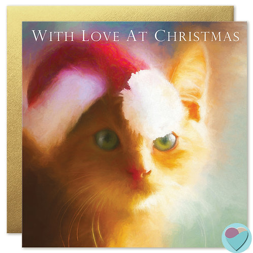 Ginger Kitten Christmas Card UK 'WITH LOVE AT CHRISTMAS'