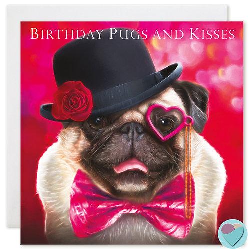 Pug Birthday Card 'BIRTHDAY PUGS AND KISSES'