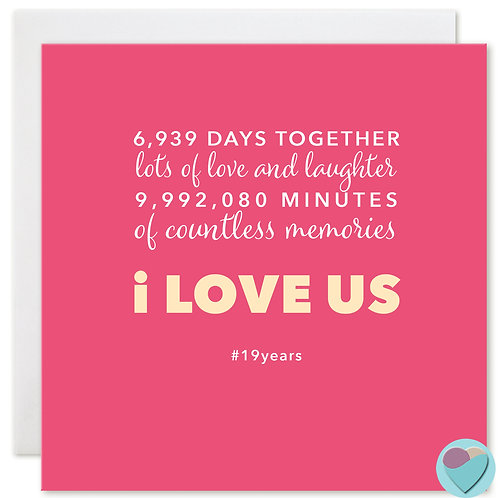Anniversary Card 19 Years 6,939 DAYS TOGETHER