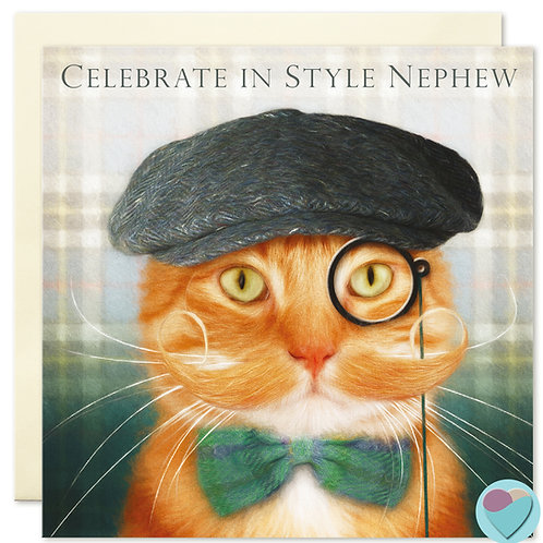 Ginger Cat Nephew Birthday Card 'CELEBRATE IN STYLE NEPHEW'