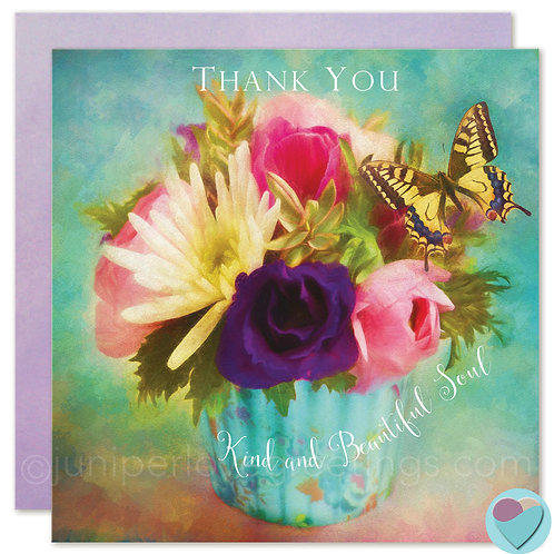 Thank You Card UK printed 'THANK YOU Kind and Beautiful Soul '