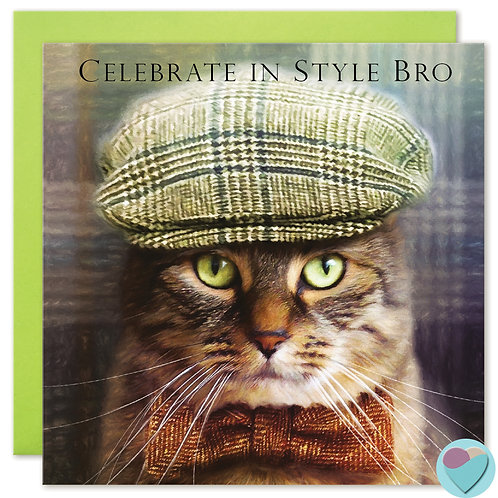 Tabby Cat Brother Birthday Card 'CELEBRATE IN STYLE BRO'