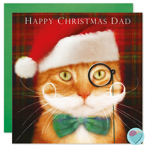 Ginger Cat Christmas Card Dad 'HAPPY CHRISTMAS DAD'