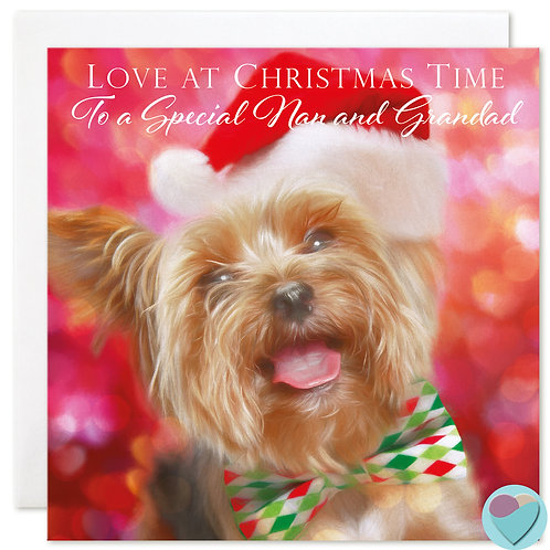 Yorkie Christmas Card 'LOVE AT CHRISTMAS TIME To a Special Nan and Grandad