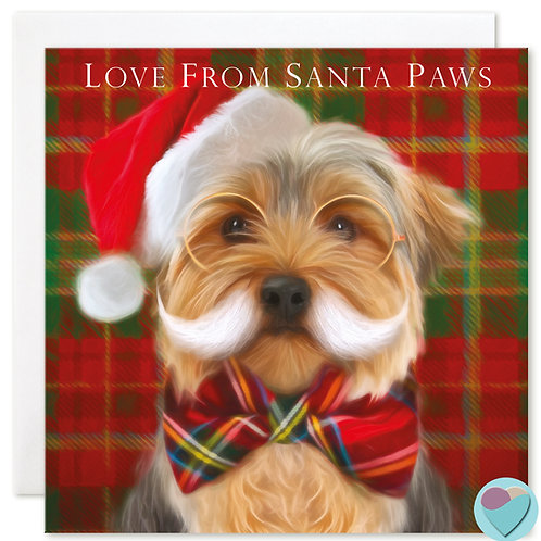 Yorkshire Terrier Christmas Card LOVE FROM SANTA PAWS