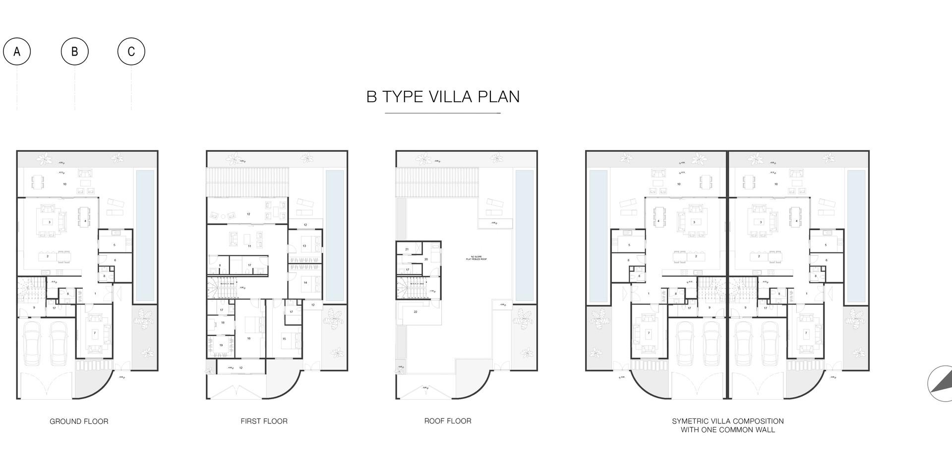 _B_ type sibling villa plan
