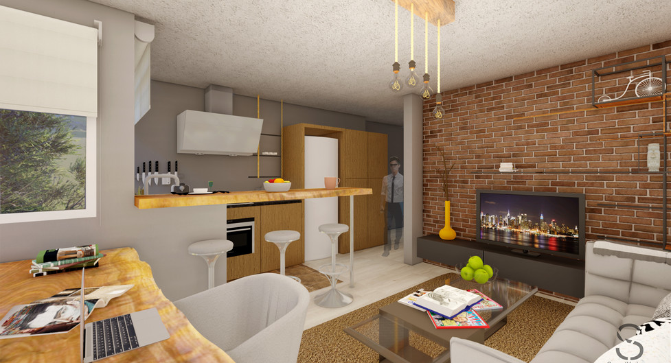 Living room and kitchen from the corner