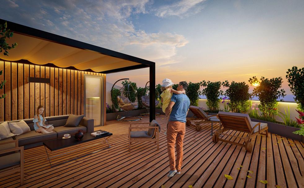 Roof floor terraces