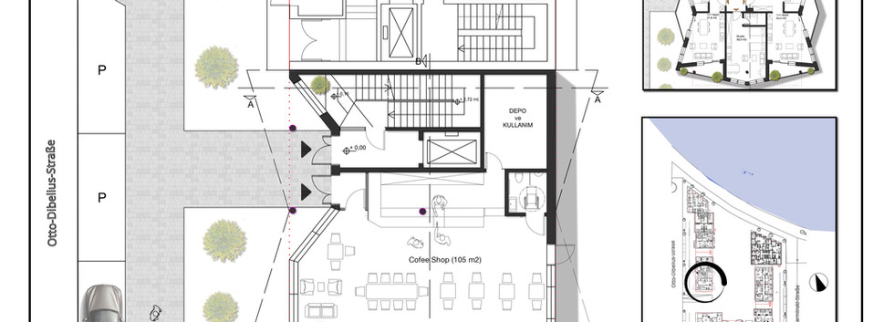 Ground floor plan - I planned to make a Lounge/Cofee Shop in the ground floor but the comercial usage of it can change.