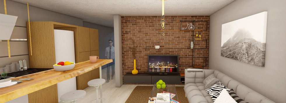 Living room with a brick wall detail