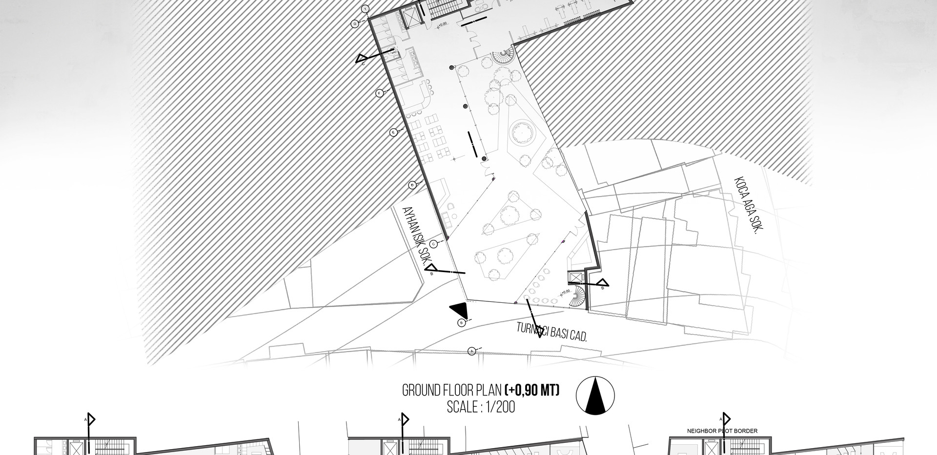 Section and plan drawings
