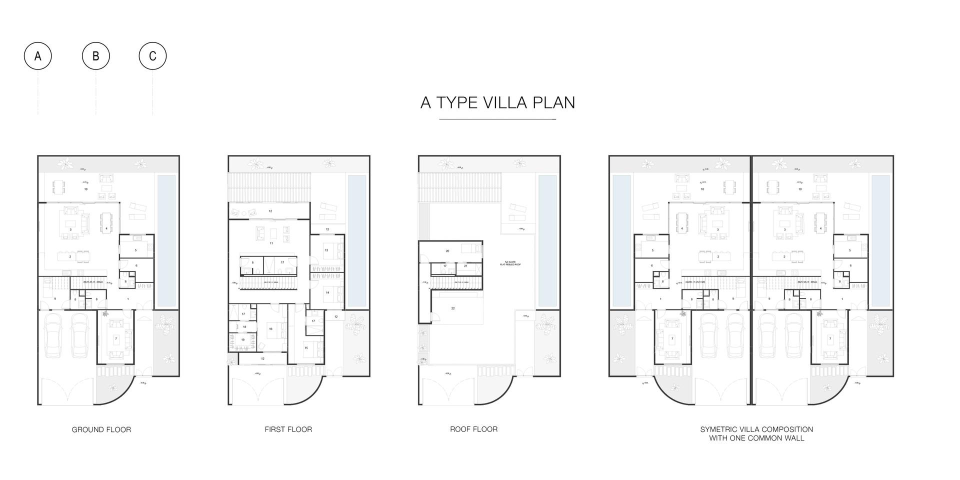 _A_ type sibling villa plan