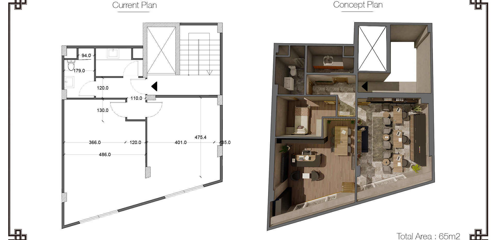 Plan organization for optimizing spaces up to the program.