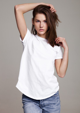 Young Model in White T-shirt