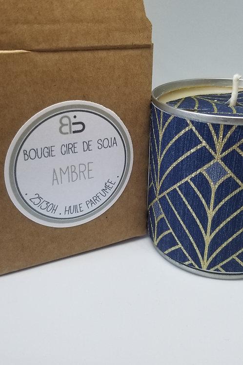 Bougie Cire végétale - parfum d'Ambre - Mille & Une Nuit - bleu