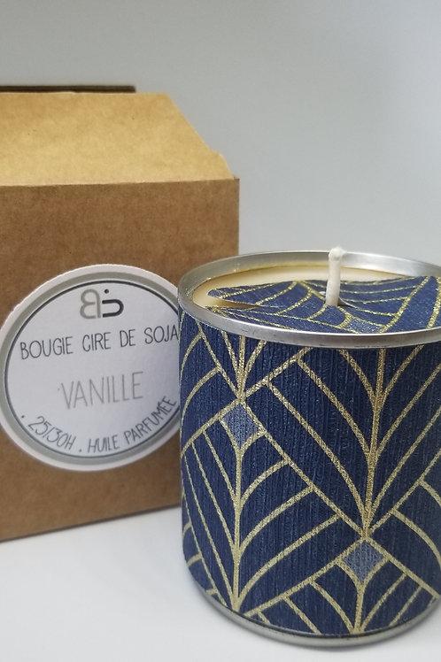 Bougie Cire végétale - parfum de Vanille - Mille & Une Nuit - bleu doré